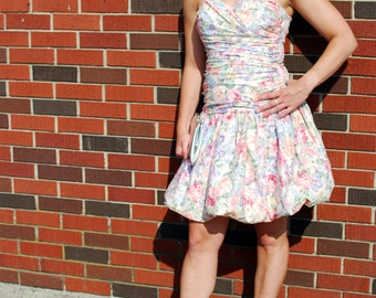1980s Light Pink Floral Party Dress