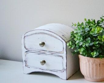 Antique Wooden Trinket Box with Drawers-Keepsakes, Jewelry, Storage