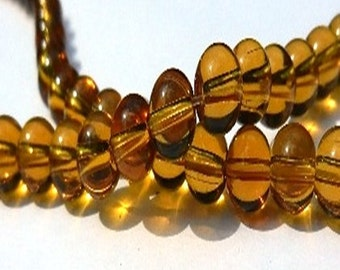 25 glass beads - 6 mm - amber / M1-0380