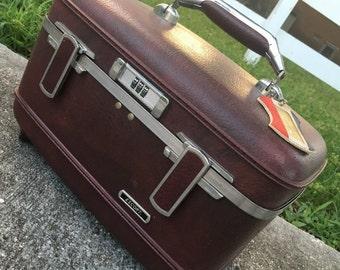 Vintage Burgundy Suitcase