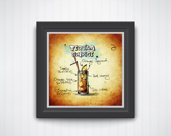 Tequila Sunrise Art Print - Mixed Drink Cocktail Painting - Bar Art Liquor Mixed Drink Recipe Art Happy Hour Painting Kitchen Bar Decor Gift