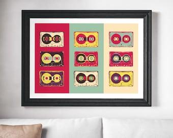 Retro Prints, Retro Art, Minimalist Poster, Pop Art Print, Retro Pop Art Print, Pop Art, Retro Cassette Print, Cassette Print, Retro Print