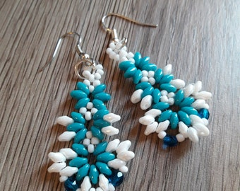 Milk and Mint earrings with beads and crystals