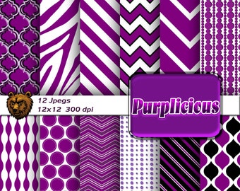 Purple digital paper, purple background, purple scrapbook, instant download