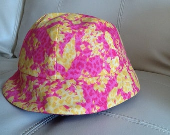 Summer hat, girls, reversible, pink, yellow, baby, toddler