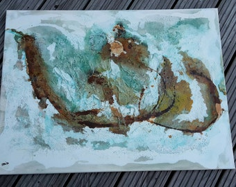 """Acrylic painting """"Rust and patina"""" structures on canvas, shipping, signed original, unique, handmade, abstract art"""