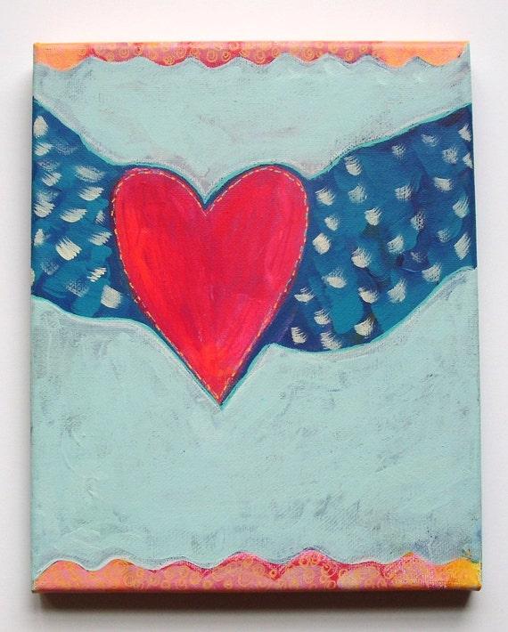 "fly-original primitive folk art painting-8"" x 10"" x 1/2"" deep, ready to hang"