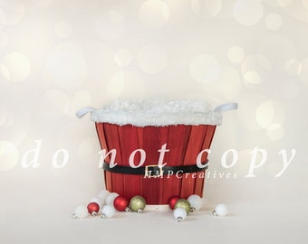 Santa Basket Christmas Newborn Digital Backdrop