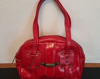 Vintage 60s 70s MOD Shiny Red Patent Leather and Studs Small Mini Purse Handbag