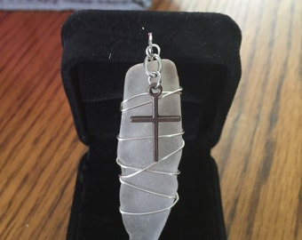 Sea glass pendent with cross