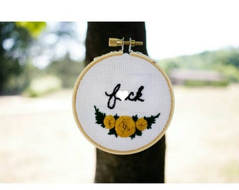 """F*ck with floral banner embroidery hoop art (3"""" hoop)"""