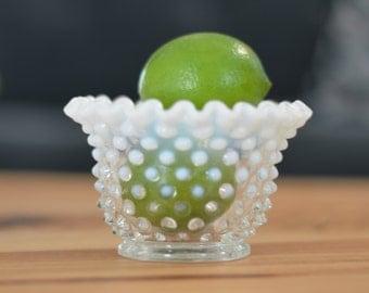 Fenton Art Glass White Opalescent Hobnail Bowl