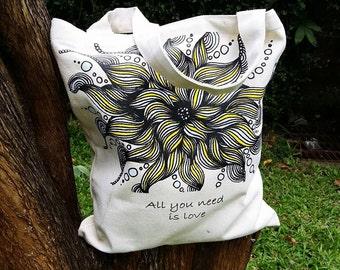Flower Zentangle Canvas Tote Bag, Zentangle Tote Bag, Canvas Tote Bag, Shoulder Bag, Cotton Bag,