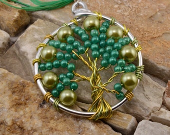 Tree of life green, yellow and silver necklace
