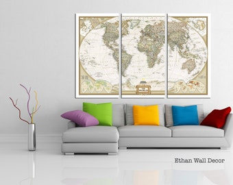World Map Canvas 3 panels world map canvas print detailed world map large wall decor living room map canvas national geographic map gift