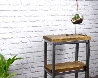 Solid Oak and Steel Side Table, Industrial Chic