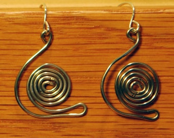 KCE-6043 - Handmade Silver Spiral Earrings