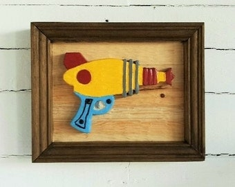 Sci-Fi 'ray gun'/hand carved/plaque/ Fathers Day/ Man Cave