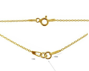 24K Gold Plated 1.7mm 16'' 18'' Sterling Silver Trace Chain