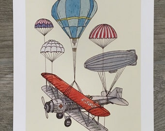 Takeoff 11x14 Fine Art Print of Watercolor Painting, Airplane Hot Air Balloons Parachute Flying Illustration by Ryan Lisko