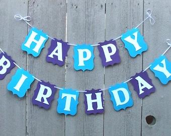 Happy Birthday banner, Birthday banner, Personalized name party banner, Happy Birthday decorations, Birthday sign, Blue birthday banner