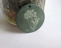 Hand-Engraved Stone Queen Anne's Lace Art Pendant
