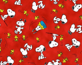 Happiness is Snoopy Woodstock Toss Red Fabric by Quilting Treasures