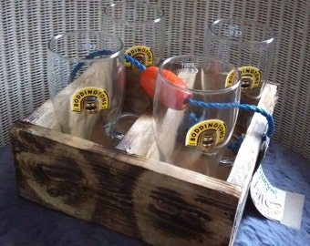 Handmade recycled wood drinks crate with 4 glasses.