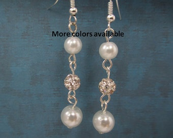 Pearl & Crystal Rhinestone Pave Drop Earrings-Bridesmaid gift-Maid of Honor gift-Bridal gifts-Bridal Party gift-Wedding Party Jewelry, E357