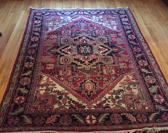 """antique hand-knotted Persian carpet - 5'7""""x 7'9"""""""