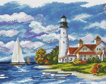 Seaside view embroidered picture (cross-stitch)