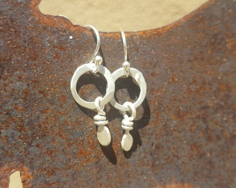 Hand forged sterling silver beads and sterling silver hoops
