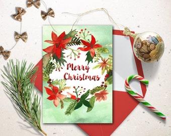 Digital Christmas Card, Watercolor Christmas printable card. Christmas wreath cards. Christmas decoration.