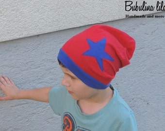 Beanie Hat Red with star - request size