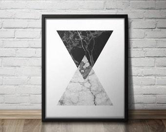 Printable Wall Art , Black and White Wall Print, Triangle Art, Abstract Geometric Art,  Marble Texture Art, Digital Download, Scandinavian