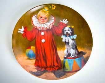 Tommy the Clown by John McClelland - 1982 VINTAGE limited edition collector plate - Edwin Knowles