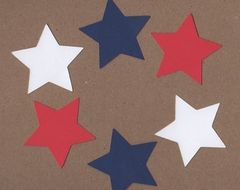 24 - 2 inch Star Die Cuts for Paper Crafts Red White and Blue