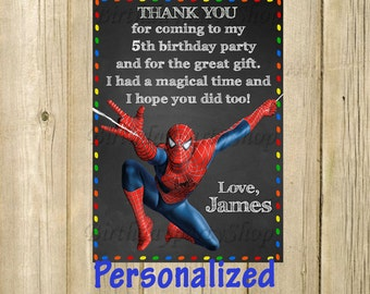 Spider-Man Thank You Card, Spider-Man Birthday Thank You Note, PERSONALIZED, Digital File