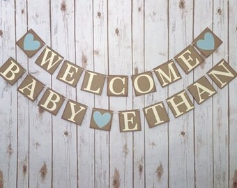Welcome baby name banner, custom welcome baby banner, personalized welcome baby name banner, baby shower decor, baby shower banner, baby boy