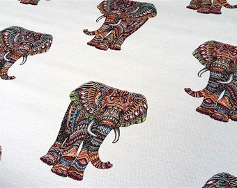 Fabric elephant allover - dimension for 1 quantity 50 cm x 140 cm - multicolor