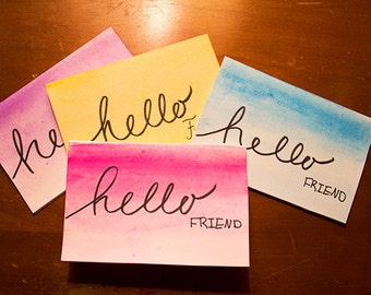 "Watercolor Note Cards - ""Hello Friend"""