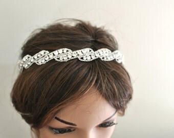 Metal Rhinestone Headband, Wedding Headpiece, Ribbon, Bridal Accessories, Bridal, Wedding, Hair Accessory
