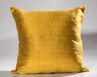 Jim Thompson fabric, Designer throw pillow, Silk decorative pillow,  designer gold pillow, toss pillow, both sides in gold