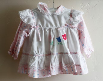 Baby Girl Dress 12 Months Vintage Baby Retro Floral Cotton Beautiful! 80's
