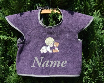 Bib with motif of 'Friends', baby, personalizable, bib, purple