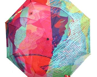 Sale - Rain or Shine Parrot Design Umbrella - Great Birthday gift