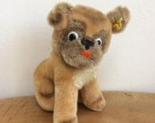 Cute Vintage Steiff Bull Dog Puppy Toy  button and cloth label in ear