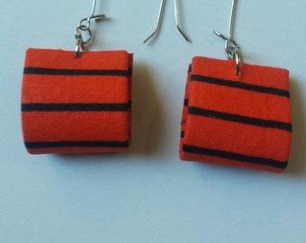 Orange and Black Stripped Earrings