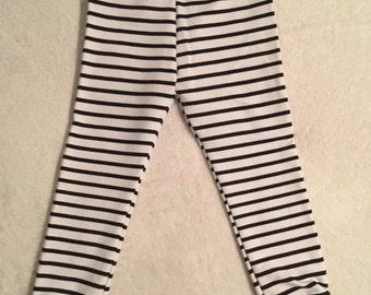 Clearance!!! Ready to ship!! Black and White Striped Sweat Pants! Size 2T! Sweat Pants! Monochrome Leggings! Striped Leggings!