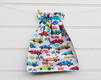 Drawstring Bag - Library Bag Drawstring - Vroom Racing Cars - LIB091 - Boy - Kindy, Books, Sheets, School